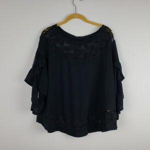 Free People Boho Black Knit & Lace Top